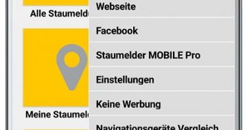 Staumelder MOBILE – Version 1.1.3 Menü